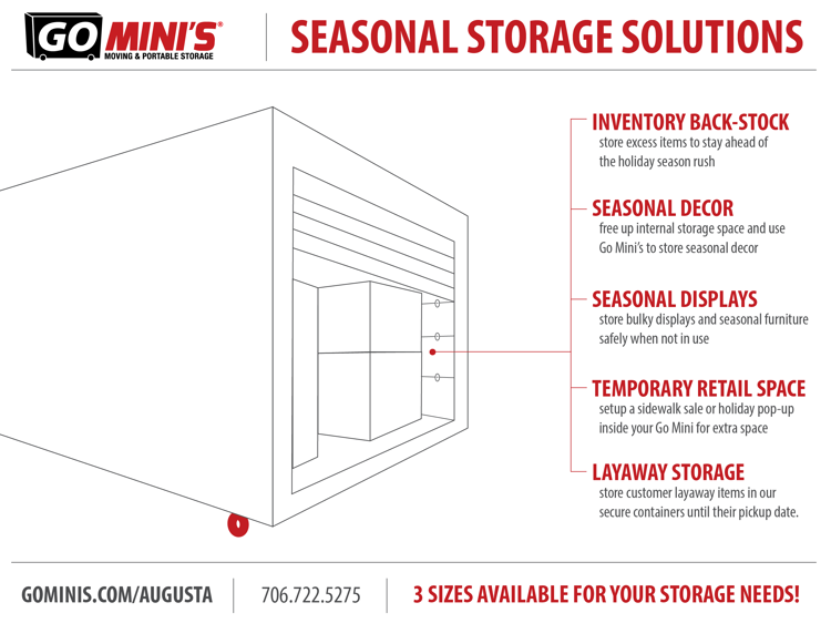 Go Mini's solutions for seasonal storage options for your business or retail store.