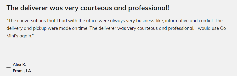 "Review by Alex K: ""The deliverer was very courteous and professional!"""