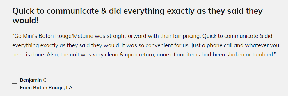 "Review by Benjamin C: ""Quick to communicate & did everything exactly as they said they would!"""