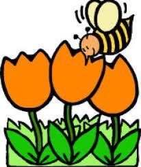 Cartoon bee and flowers
