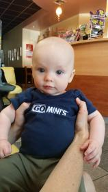 Baby wearing Go Mini's shirt